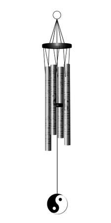 chimes: Chinese traditional Wind chimes. Wind bell isolated on white. Vector illustration