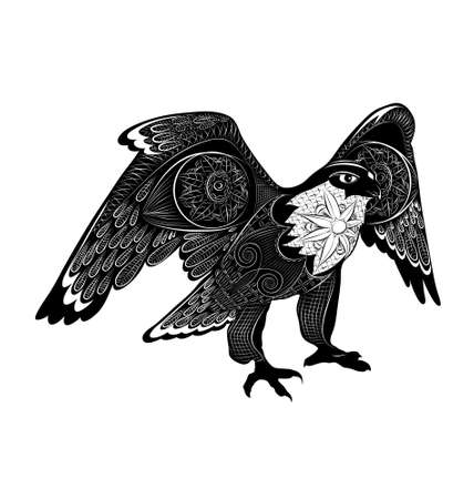 t shirt white: vector decorative falcon. black and white zentangle stylized bird. Ethnic patterned illustration for tattoo, poster, print, t-shirt