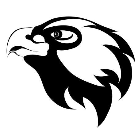 Eagle head tatto. black and white logo Illustration