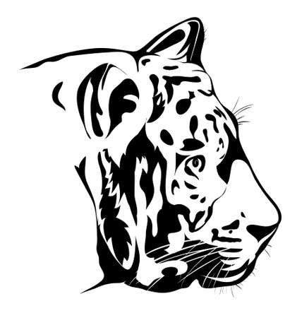 Bengal tiger head. Black and white vector image. Tattoo Illustration