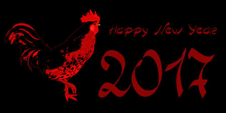 chinese astrology: Happy New Year 2017, cock, vector