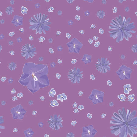 bluebell: pink and blue floral pattern. knapweed, cornflower, bluebell, harebell, campanula, forget-me-not flowers. vector seamless texture Illustration