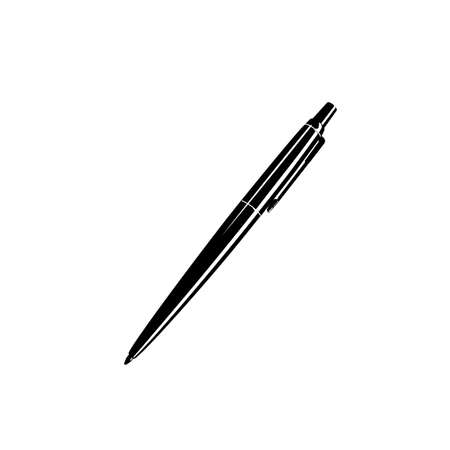 ball pen. black and white vector icon