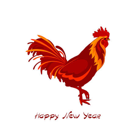 chinese astrology: Happy New Year 2017. Greeting card. Red cock. Vector illustration
