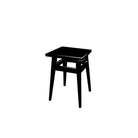wooden stool: vector tabouret. black and white object Illustration