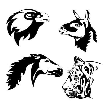 Zwart-witte dieren. Vector tattoo. Dieren hoofd. Lama, adelaar, paard, tijger