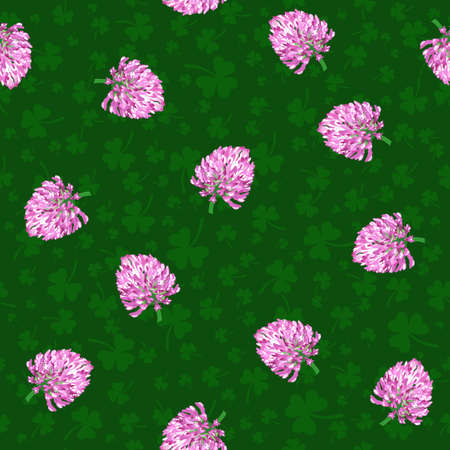 vector clovers and leaves. patrick background. vector seamless pattern
