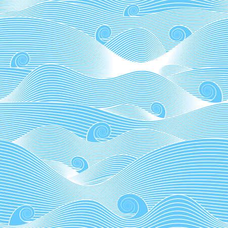 abstract ocean. blue waves. seamless vector pattern Ilustração