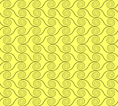 abstract spirals. vector seamless pattern. green and yellow background