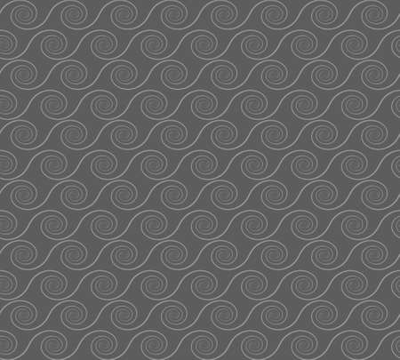 Abstract spirals. Vector seamless pattern on grey background. 向量圖像