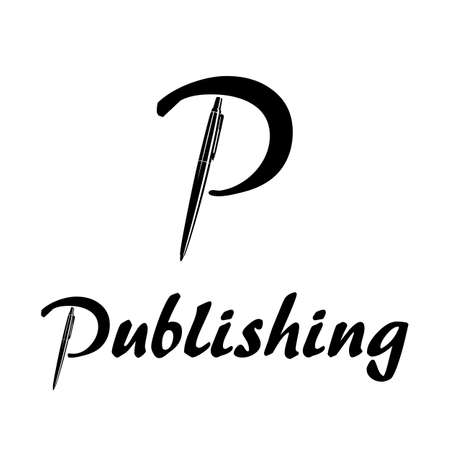 Letter p with pen publishing logo black and white image