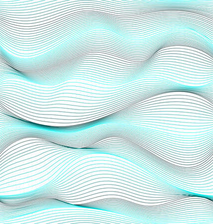 Blue wavy curves on transparent background. Vector seamless pattern. Repetitive background. Fabric swatch. Wrapping paper. Modern stylish texture. Textile paint 向量圖像