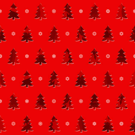 abstract new year trees and snowflakes. vector seamless pattern. red xmas background. textile paint. repetitive background. fabric swatch. wrapping paper Çizim