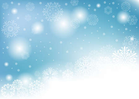 blue winter background with white snowflakes. vector illustration