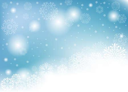 niebieskie tło zima z białymi płatkami śniegu. ilustracja wektorowa