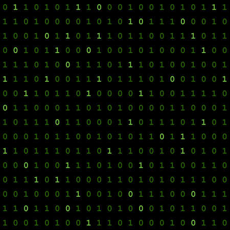 digital matrix. chlorine and rifle-green 0 and 1 numbers. green binary code on black background. vector seamless pattern. simple technology background. programming computer code. technology concept. textile paint. repetitive background. fabric swatch. wrapping paper. vector illustration