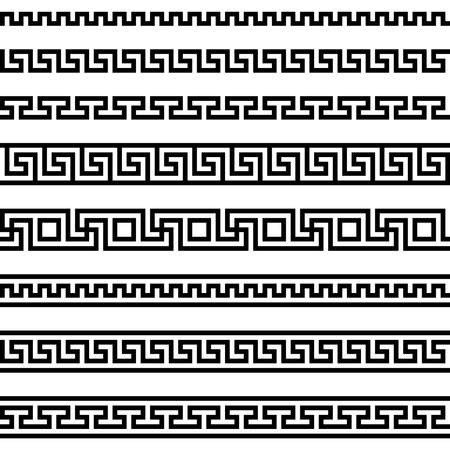 meander pattern. greek fret repeated motif. vector seamless pattern. simple black and white background. geometric shapes. textile paint. repetitive background. fabric swatch. wrapping paper. classic ornament. modern stylish texture Vector Illustratie