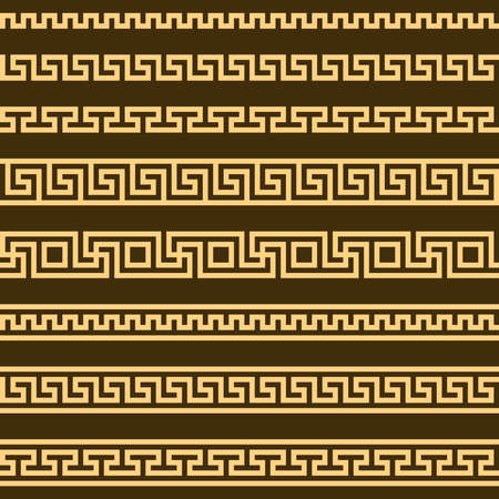 meander pattern. greek fret repeated motif. vector seamless pattern. simple repetitive background. geometric shapes. textile paint. fabric swatch. wrapping paper. classic ornament. modern stylish texture Vettoriali