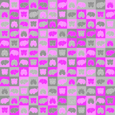 pink and gray elephants on squares. vector seamless pattern. simple geometric shapes and toys. textile paint. repetitive background. fabric swatch. wrapping paper. childly pattern Ilustrace
