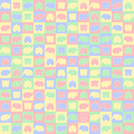 pink and gray elephants on squares. vector seamless pattern. simple geometric shapes and toys. textile paint. repetitive childly background. fabric swatch. wrapping paper. pastel colors