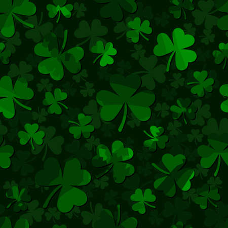 shamrock seamless pattern. clover leaves. dark green patrick backgorund. St. Patrick's Day. Vector illustration. textile paint. repetitive background. fabric swatch 免版税图像 - 120960961