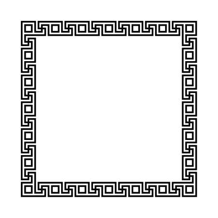 rectangle frame with seamless meander pattern. greek fret repeated motif. meandros, a decorative border, constructed from continuous lines. vector border. simple black and white background. geometric shapes. textile paint. fabric swatch. classic ornament. greek key Ilustrace