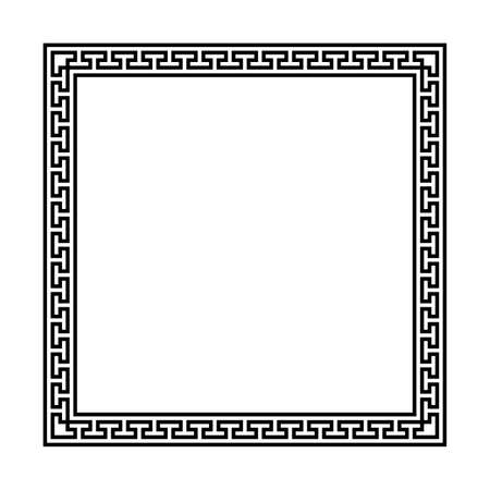 square frame with seamless meander pattern. greek fret repeated motif. meandros, a decorative border, constructed from continuous lines. vector border. simple black and white background. geometric shapes. textile paint. fabric swatch. classic ornament. greek key