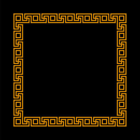 square frame with seamless meander pattern. greek fret repeated motif. meandros, a decorative border, constructed from continuous lines. vector border. simple black background with orange frame. geometric shapes. textile paint. fabric swatch. classic ornament. greek key