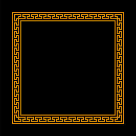 square frame with seamless meander pattern. greek fret repeated motif. meandros, a decorative border, constructed from continuous lines. vector border. simple black background with orange border. geometric shapes. textile paint. fabric swatch. classic ornament. greek key