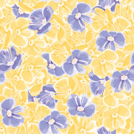 spring background with blue and yellow flowers. vector seamless pattern. floral repetitive background. textile paint. fabric swatch. wrapping paper. modern stylish texture