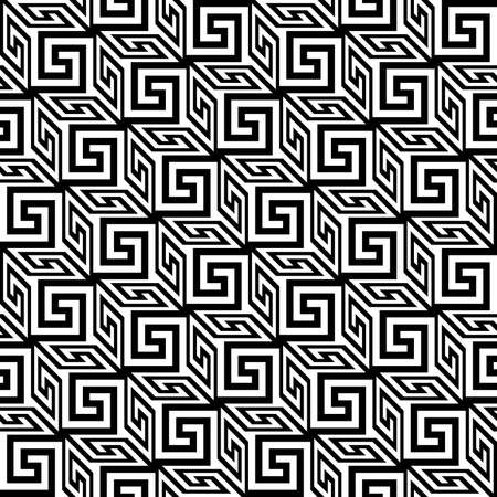 meander pattern. cubes with greek fret repeated motif. vector seamless pattern. simple black and white repetitive background. geometric shapes. textile paint. fabric swatch. wrapping paper Ilustrace
