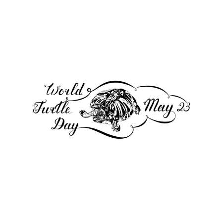 world turtle day. black photorealistic animal with hand drawn brush style calligraphic lettering on white background. vector illustration with slogan. design element for greeting card, banner, invitation, postcard, vignette, flyer, poster Illustration