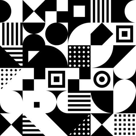 black and white squares, triangles, rectangles, circles. simple geometric shapes. vector seamless pattern. textile paint. repetitive background. fabric swatch. wrapping paper