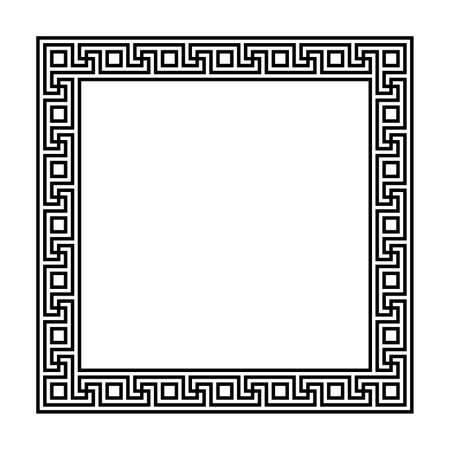 rectangle frame with seamless meander pattern. greek key greek fret repeated motif. meandros, a decorative border, constructed from continuous lines. vector border. simple black and white background. geometric shapes. textile paint. classic ornament