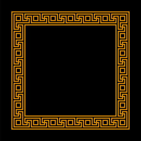 square frame with seamless meander pattern. greek key. greek fret repeated motif. meandros, a decorative border, constructed from continuous lines. vector border. simple black background with orange frame. geometric shapes. textile paint. classic ornament