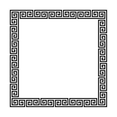 rectangle frame with seamless meander pattern. greek fret repeated motif. greek key. meandros decorative vector border. simple black and white background geometric shapes. textile paint. classic ornament