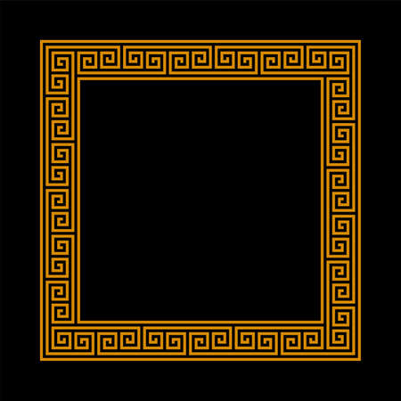 square frame with seamless meander pattern. greek fret repeated motif. meandros decorative vector frame.  simple black background with orange border. classic ornament. greek key