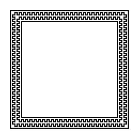 square vector frame with seamless meander pattern. greek fret repeated motif, key. meandros decorative border. simple black and white background. classic ornament