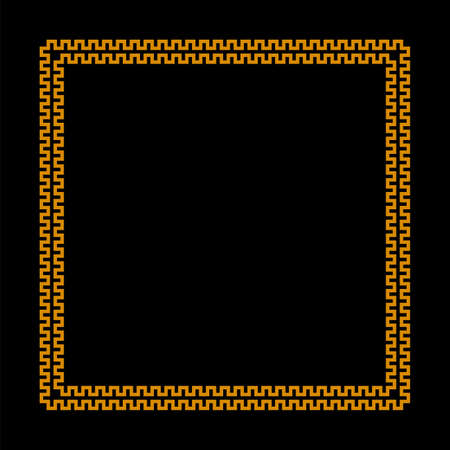 square vector frame with seamless meander pattern. greek fret repeated motif. greek key. gold meandros decorative border on simple black background. classic ornament Vettoriali