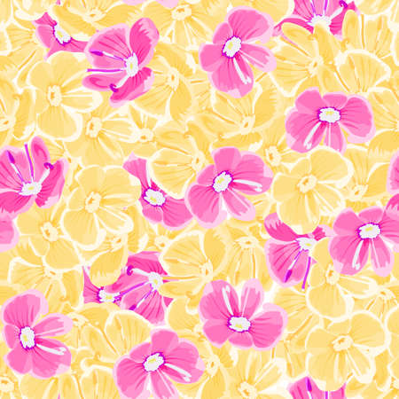 spring background with pink and yellow flowers. vector seamless pattern. floral repetitive background. textile paint. fabric swatch. wrapping paper. modern stylish texture
