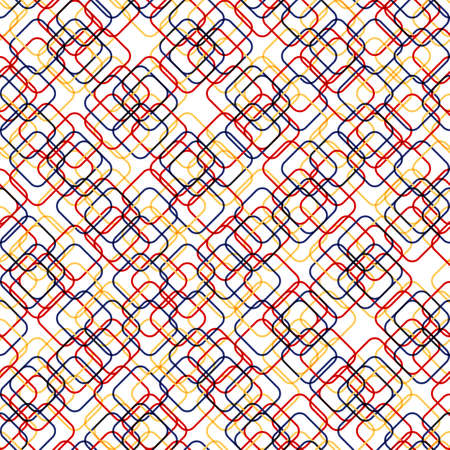 squares with round corners. vector seamless pattern. simple blue, yellow, red shapes on transparent background. textile paint. repetitive background. fabric swatch. wrapping paper.