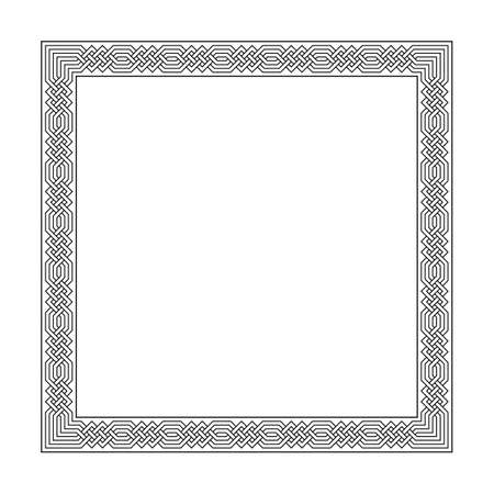 vector square frame with seamless islamic pattern. ancient repeated motif. a decorative border constructed from continuous lines. simple black and white background with meandros. geometric shapes. classic ornament