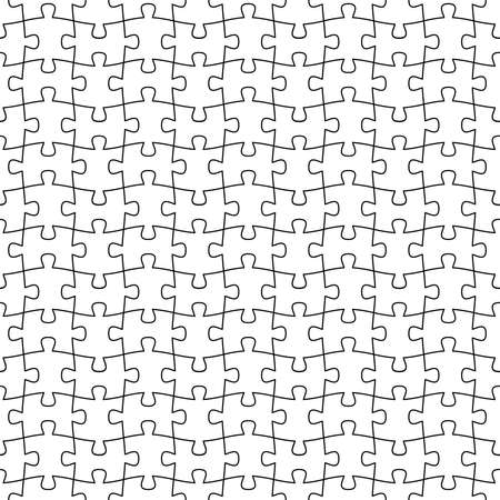 jigsaw puzzle. vector seamless pattern. blank template. every piece is a single shape. metaphor of union, network, solution, connection. simple black and white repetitive background. fabric swatch Ilustrace