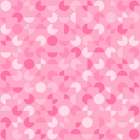 segments of circles. vector seamless pattern. abstract geometric shapes. simple pink background. textile paint. repetitive background. wrapping paper. fabric swatch Ilustrace