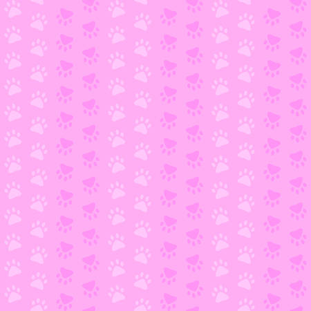 pink paw prints. vector seamless pattern. simple baby repetitive background. textile paint. fabric swatch. wrapping paper. continuous print Illustration
