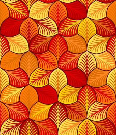 autumn stylized leaves with streaks. vector seamless pattern. simple repetitive background. textile paint. fabric swatch. wrapping paper. continuous print. orange yellow red colors