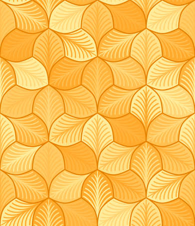 autumn stylized leaves with streaks. vector seamless pattern. simple gold repetitive background. textile paint. fabric swatch. wrapping paper. continuous print. orange yellow brown colors