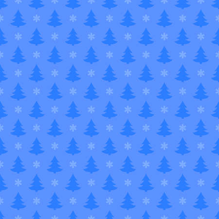 blue christmas trees and snowflakes. vector seamless pattern. simple repetitive background. textile paint. fabric swatch. wrapping paper. continuous print