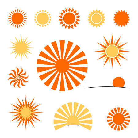 simple vector sun. icon set. design element for greeting card Ilustrace