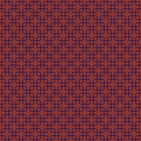 abstract square shapes. vector seamless pattern. simple salmon and blue repetitive background. textile paint. fabric swatch. wrapping paper. continuous print. dark grid Ilustração